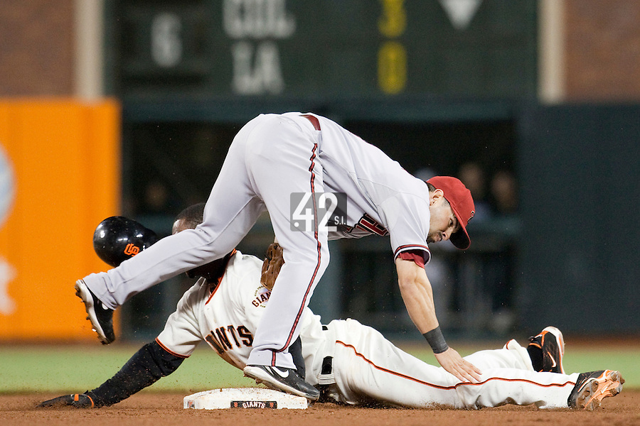 17 April 2009: San Francisco Giants' Fred Lewis is called safe on a steal attempt at second base in the seventh inning against Arizona Diamondbacks shortstop Felipe Lopez during the San Francisco Giants' 2-0 win against the Arizona Diamondbacks at AT&T Park in San Francisco, CA.