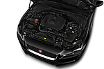 Car stock 2018 Jaguar XE Prestige 4 Door Sedan engine high angle detail view