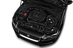 Car stock 2018 Jaguar XE Prestige 4 Door Sedan engine high angle detail view