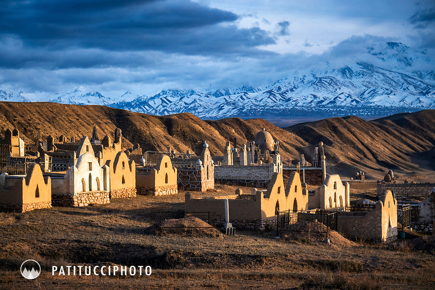 The Kyrgyzstan landscape is filled with cemetaries, which include large monuments built for the dead.