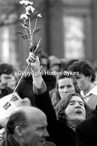 Peace Movement. Peace People. Peace March. Well wishers support the Peace Movement Trafalgar Square rally. 1976