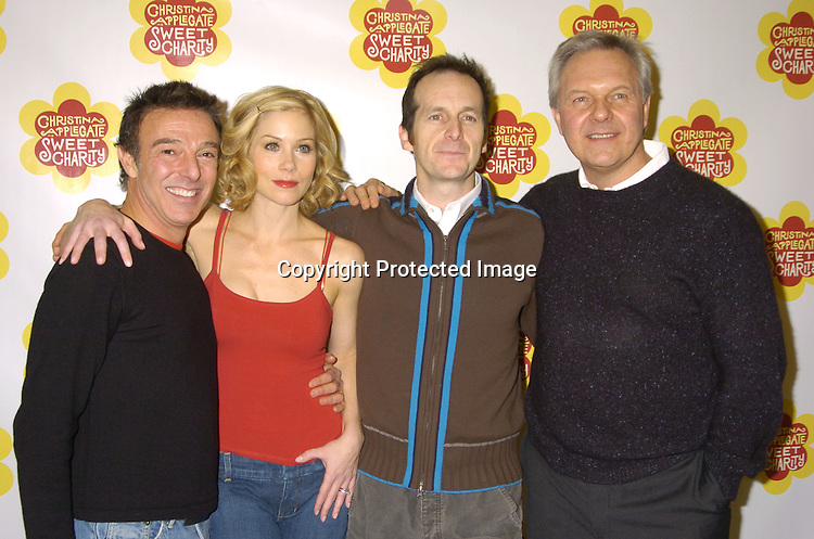"Wayne Cilento, Christina Applegate and Denis O'Hare and the Director Walter Bobbie ..at a rehearsal for the revival of ""Sweet Charity"" starring ..Christina Applegate and Dennis O'Hare on January 19, 2005 at the New 42nd Street Studios.  ..Photo by Robin Platzer, Twin Images"
