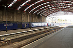 Railway station interior with First Great Western train at platform, Penzance, Cornwall, England, UK