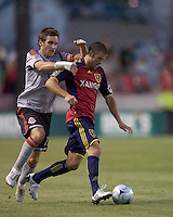 Real Salt Lake defender Chris Wingert (17) dribbles as Toronto FC defender Jim Brennan (11) defends. Salt Lake Real defeated Toronto FC, 3-0, at Rio Tinto Stadium on June 27, 2009.
