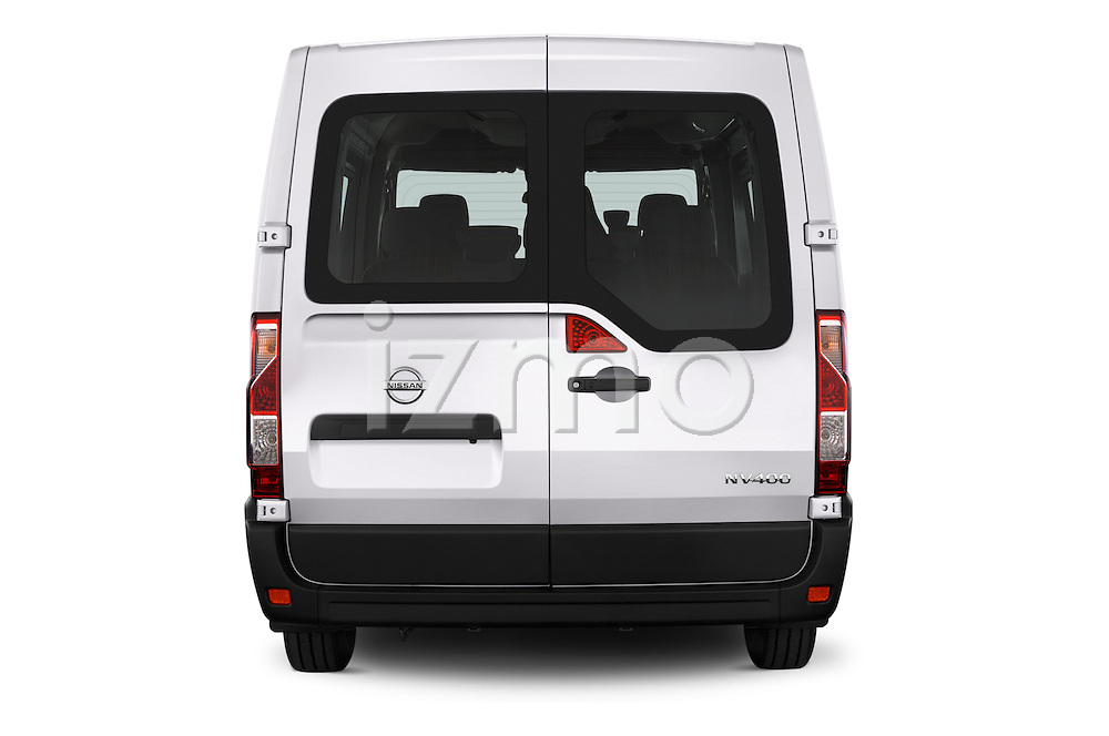 Straight rear view of 2016 Nissan NV400-Combi l1h1-Optima 5 Door Passenger Van Rear View  stock images
