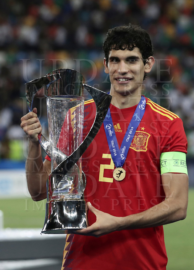 Spain's captain Jesus Vallejo at the end of the Uefa Under 21 Championship 2019 football final match between Spain and Germany at Udine's Friuli stadium, Italy, June 30, 2019. Spain won 2-1.<br /> UPDATE IMAGES PRESS/Isabella Bonotto