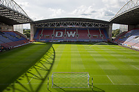 General view of the Stadium ahead of the pre season friendly match between Wigan Athletic and Liverpool at the DW Stadium, Wigan, England on 14 July 2017. Photo by Andy Rowland.