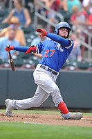 Oklahoma City Dodgers designated hitter Alex Verdugo (27) swings at a pitch against the Omaha Storm Chasers at Werner Park on June 24, 2018 in Omaha, Nebraska. Omaha won 8-0.  (Dennis Hubbard/Four Seam Images)