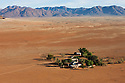 Namibia, Namib Desert, Namibrand Nature Reserve, aerial of chief ranger station Keerweder