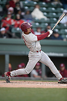 Designated hitter Noah Campbell (2) of the South Carolina Gamecocks bats in a game against the Furman Paladins on Tuesday, March 19, 2019, at Fluor Field at the West End in Greenville, South Carolina. South Carolina won, 12-7. (Tom Priddy/Four Seam Images)