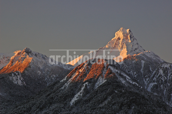 Moutain  Puntiagudo in the Andes Mountain range of Southern Chile