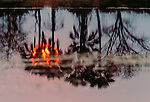 Reflected sunset, Okavango Delta, Botswana