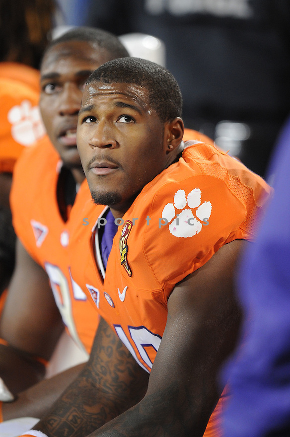 ANDRE BRANCH, of the Clemson Tigers, in action during Clemson's game against the Virginia Tech Hokies on December 3, 2011 at Bank of America Stadium in Charlotte, NC. Clemson beat Virginia Tech 38-10.