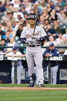 July 5, 2008: The Detroit Tigers' Carlos Guillen at-bat against Seattle Mariners knuckleballer R.A. Dickey at Safeco Field in Seattle, Washington.