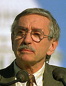 Edward Albee reads the names of people who have died of AIDS as part of the observances around the AIDS quilt on the National Mall in Washington, D.C. on October 12, 1996..Credit: Ron Sachs / CNP