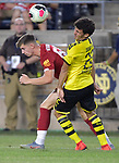 Football: Test Match, Liverpool FC - Borussia Dortmund. Borussia Dortmund defender Mateu Morey (22, left) and Liverpool midfielder Ben Woodburn (58) vie for the ball in their exhibition match on July 19, 2019 at Notre Dame Stadium. <br /> Tim Vizer/DPA