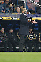 10.12.2011 La Liga BBVA, Spain. Santiago Bernaveu stadium.Real Madrid vs FC Barcelona. Picture show Pep Guardiola coach of FC Barcelona