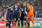 12 JUN 2010:  The USA squad huddles prior to the opening whistle.  The England National Team and the United States National Team were tied 1-1 after the first half at Royal Bafokeng Stadium in Rustenburg, South Africa in a 2010 FIFA World Cup Group C match.