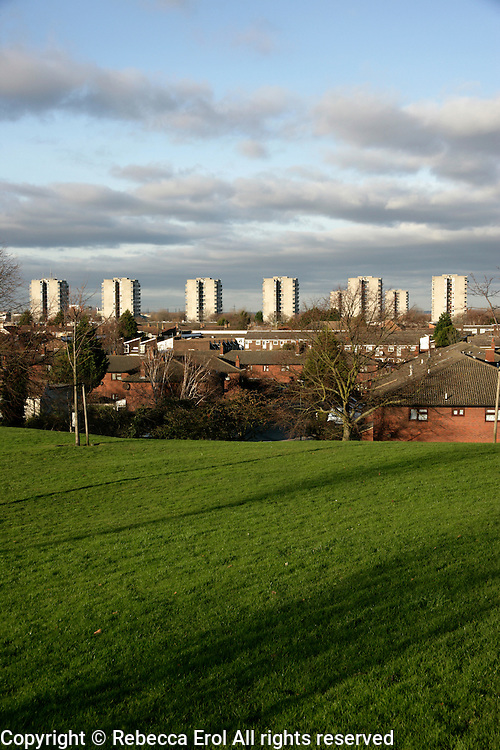 The skyscrapers of Thamesmead with the houses of Abbeywood in the foreground, southeast London, UK
