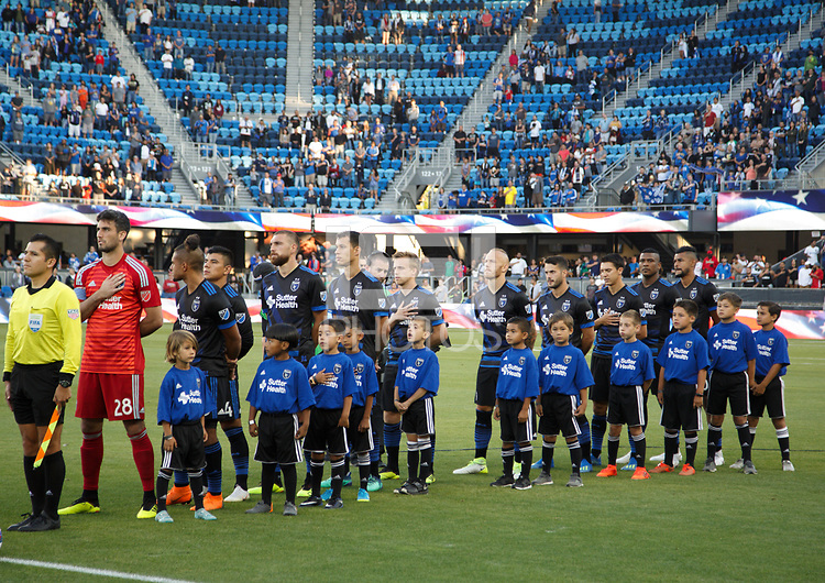 San Jose, CA - Saturday July 28, 2018: San Jose Earthquakes  during a Major League Soccer (MLS) match between the San Jose Earthquakes and Real Salt Lake at Avaya Stadium.