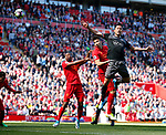 Marko Grujic of Liverpool heads towards goal making Fraser Forster of Southampton to make a save in the last minutes of the game during the English Premier League match at Anfield Stadium, Liverpool. Picture date: May 7th 2017. Pic credit should read: Simon Bellis/Sportimage