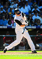 07 September 08: Colorado Rockies 1st baseman Garrett Atkins at bat against the Houston Astros. The Houston Astros defeated the Colorado Rockies 7-5 at Coors Field in Denver, Colorado. FOR EDITORIAL USE ONLY