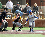 SIOUX FALLS, SD: Gus Steiger #3 from South Dakota State University watches the ball for a base hit against North Dakota State University Thursday in Sioux Falls. (Dave Eggen/Inertia)