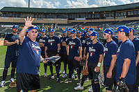 18 September 2012: Team France players listen to Team Manager Jim Stoeckel during Team France practice, at the 2012 World Baseball Classic Qualifier round, in Jupiter, Florida, USA.