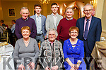 Mary O&rsquo;Riordan from Abbeyfeale celebrating her 100th birthday with her family in the Listowel Arms Hotel on Sunday.<br /> Seated l to r: Ita and Mary O&rsquo;Riordan and Joan Keating.<br /> Back l to r: Johnny O&rsquo;Riordan, Brian and Seamus Keating, Jimmy O&rsquo;Riordan and Tom Keating.