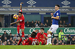 Nathaniel Clyne of Liverpool has a shot on goal during the English Premier League match at Goodison Park, Liverpool. Picture date: December 19th, 2016. Photo credit should read: Lynne Cameron/Sportimage
