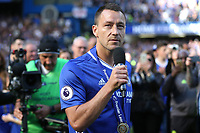 Chelsea's John Terry begins his farewell speech on the pitch after the Trophy celebrations during Chelsea vs Sunderland AFC, Premier League Football at Stamford Bridge on 21st May 2017