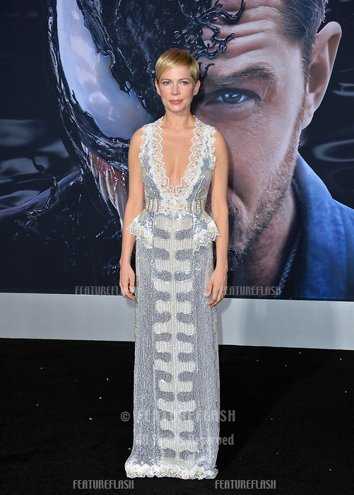 LOS ANGELES, CA. October 01, 2018: Michelle Williams at the world premiere for &quot;Venom&quot; at the Regency Village Theatre.<br /> Picture: Paul Smith/Featureflash