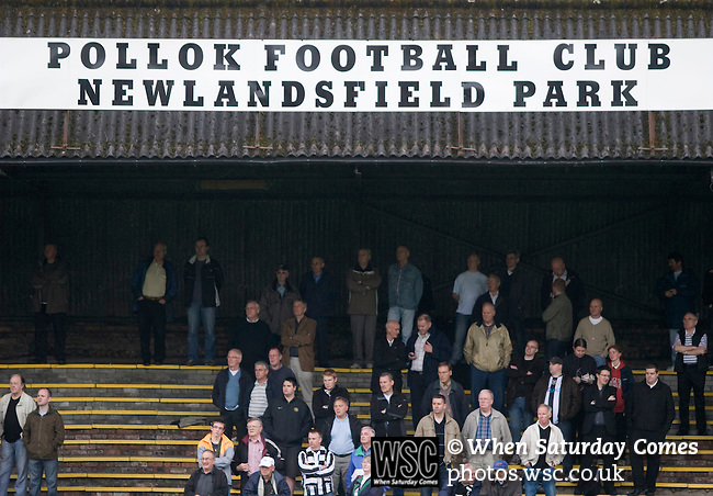 Pollok 2 Neilston Juniors 1, 13/08/2008. Newlandsfield, Sectional League Cup. Pollok fans in the shed watching the action as their team take on local rivals Neilston Juniors in a Sectional League Cup (Central) Section 5 tie at Newlandsfield on Glasgow's south side. The home side won the game by 2-1 in front of 302 fans. Junior football was divided into East, West and North sections and played throughout Scotland. It had its own governing body, the SJFA and regional pyramid structure and national cup competition. Photo by Colin McPherson.