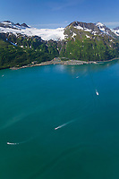 Aerial of the coastal town of Whittier, located at the end of Passage Canal in Prince William Sound, Alaska