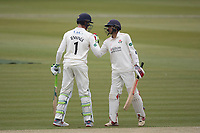 Keaton Jennings of Lancashire CCC and Haseeb Hameed of Lancashire CCC acknowledge their century partnership during Middlesex CCC vs Lancashire CCC, Specsavers County Championship Division 2 Cricket at Lord's Cricket Ground on 12th April 2019