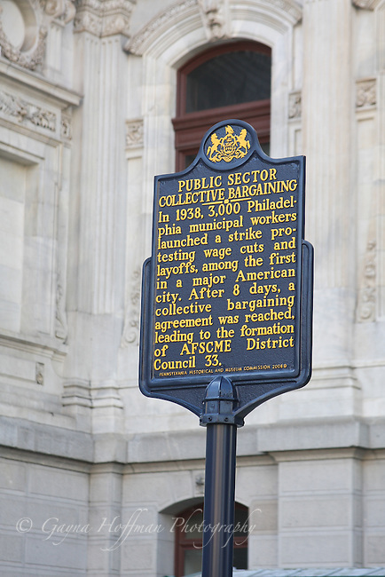 Public Sector Collective Bargaining Historic Marker, Philadellphia, PA