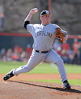 University of South Carolina starting pitcher Blake Cooper (27) worked six strong innings and picked up the win in a game between the Clemson Tigers and USC Gamecocks on March 2, 2008, at Doug Kingsmore Stadium in Clemson. Photo by: Tom Priddy/Four Seam Images