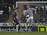 Marc McAusland concedes the foul to Rocco Quinn in the St Mirren v Ross County Clydesdale Bank Scottish Premier League match played at St Mirren Park, Paisley on 19.1.13.