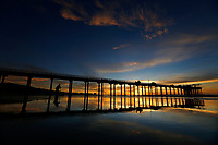 November 19, 2017 - San Diego, California -  The sun sets on the Pacific Ocean at Scripps Pier at La Jolla Shores beach in San  Diego, California on Sunday, Nov. 19, 2017.   (Photo Credit: © K.C. ALFRED/ZUMA PRESS)