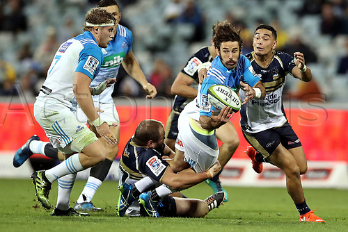April 30th 2017,Canberra, Australia; Super Rugby Match; Brumbies versus Blues; Billy Guyton gets the ball back inside to Blake Gibson