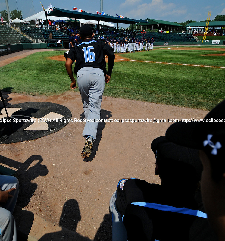 20 August 10: Phillip Felicien is introduced before the start of the Ocala-Norwalk game in the Cal Ripken Babe Ruth World Series 12U Majors in Aberdeen, Maryland