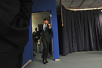 Illinois Governor Rod Blagojevich enters a press conference to tell the media that he will not resign and will fight federal corruption charges against him at a press conference at the Thompson Center in Chicago, Illinois on December 19, 2008.