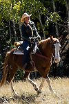 Woman outdoors horseback riding on a crisp and cool fall morning, amid aspen groves high in the Rocky Mountains, near Estes Park, Colorado, USA