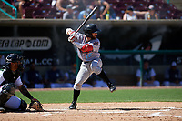 Inland Empire 66ers second baseman Alvaro Rubalcaba (12) during a California League game against the Lake Elsinore Storm on April 14, 2019 at The Diamond in Lake Elsinore, California. Lake Elsinore defeated Inland Empire 5-3. (Zachary Lucy/Four Seam Images)