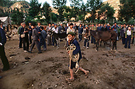 September, 1985. Shaanxi Province, China. Trading ponies at the market in Zhidan. This small town was called Bao'an when the Red Army settled here early 1936.