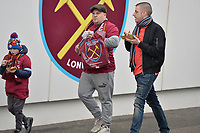 West Ham fan's arrive during West Ham United vs Arsenal, Premier League Football at The London Stadium on 12th January 2019