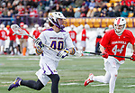 University at Albany Men's Lacrosse defeats Cornell 11-9 on Mar 4 at Casey Stadium. Kyle McClancy defended by Scott Flynn (#44).
