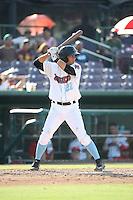 David Fletcher (22) of the Inland Empire 66ers bats against the Visalia Rawhide at San Manuel Stadium on June 26, 2016 in San Bernardino, California. Inland Empire defeated Visalia, 5-1. (Larry Goren/Four Seam Images)