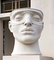 Empty Head of Blind Justice statue at the court house in Lafatte Louisiana