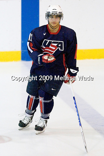 AJ Treais (US Blue - 12) - Team White defeated Team Blue 8-7 (OT) in their third scrimmage of the 2009 USA Hockey National Junior Evaluation Camp on Sunday, August 9, 2009, in the USA (NHL-sized) Rink in Lake Placid, New York.